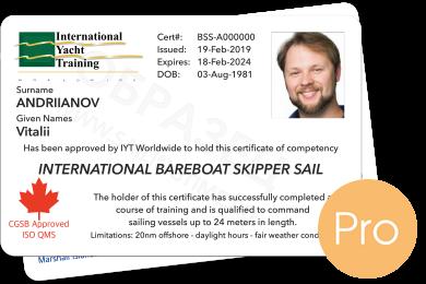 Bareboat Skipper Sail IYT Pro + VHF