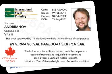 Bareboat Skipper Sail IYT + VHF