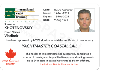 Yachtmaster Coastal Sail IYT